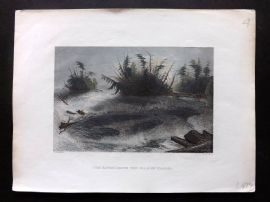 Bartlett America C1840 Hand Col Print. Rapids above the Falls of Niagara, USA